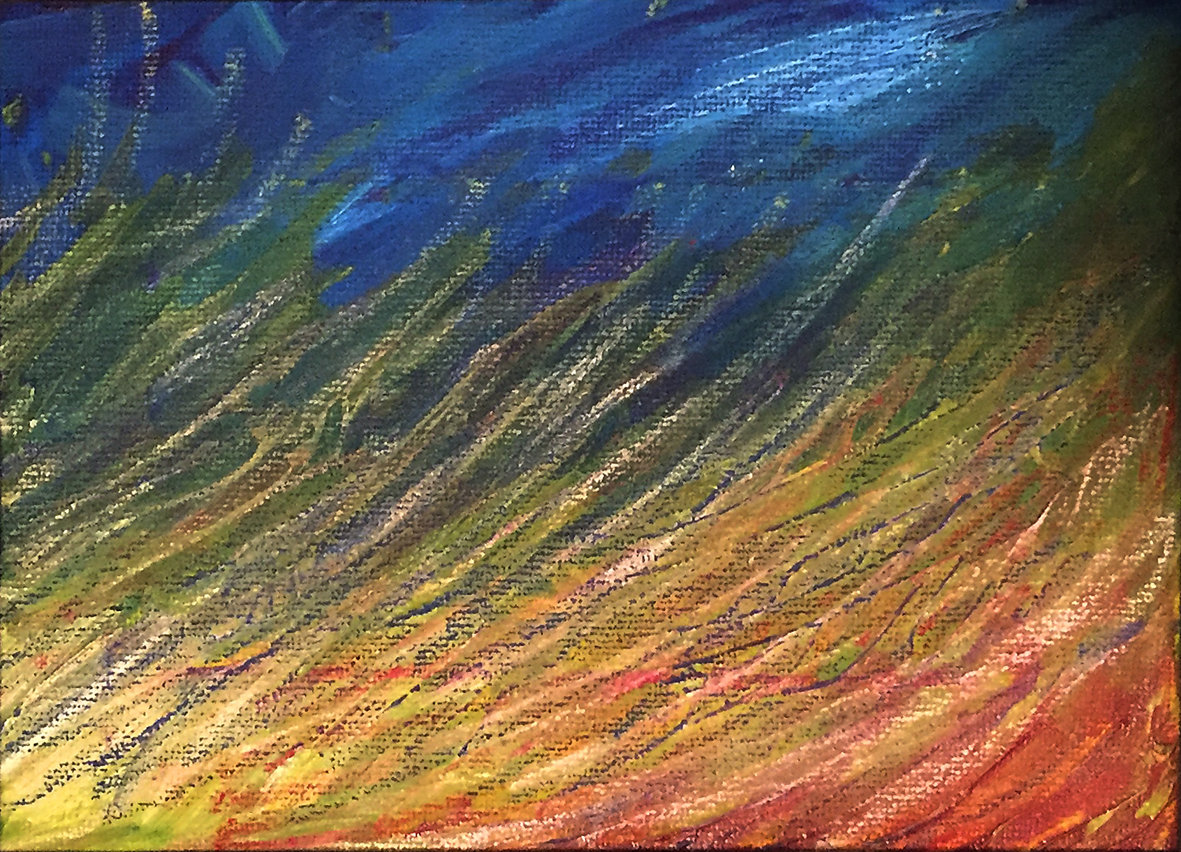 """""""Field at Disk"""" 9x6 acrylic on canvas board painting"""